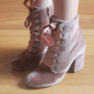 Pink Velvet Lace-up Booties